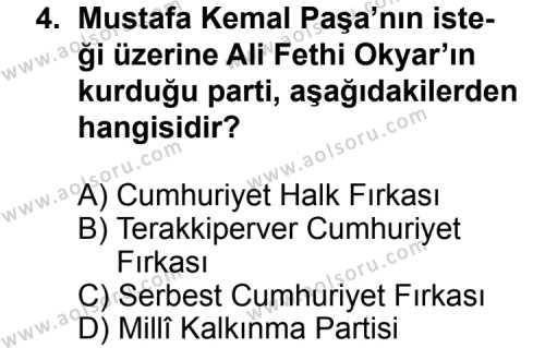 T.C. İnklap Tarihi ve Atatürkçülük 2 Dersi 2014 - 2015 Yılı 3. Dönem Sınav Soruları 4. Soru