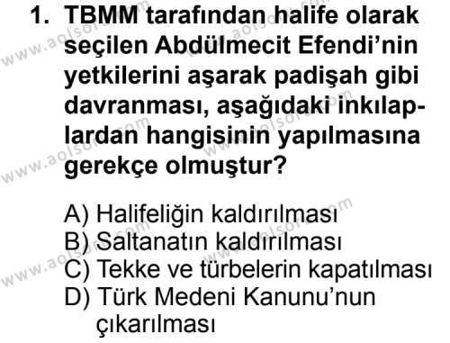 T.C. İnklap Tarihi ve Atatürkçülük 2 Dersi 2014 - 2015 Yılı Ek Sınav Soruları 1. Soru