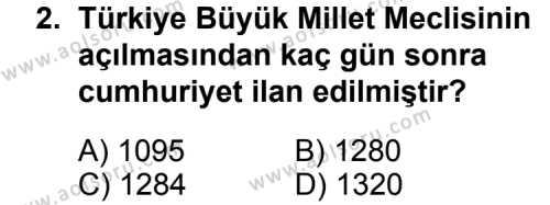 T.C. İnklap Tarihi ve Atatürkçülük 2 Dersi 2014 - 2015 Yılı Ek Sınav Soruları 2. Soru