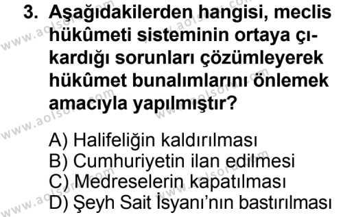 T.C. İnklap Tarihi ve Atatürkçülük 2 Dersi 2014 - 2015 Yılı Ek Sınav Soruları 3. Soru