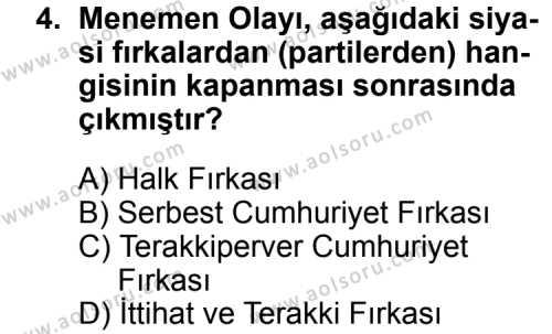 T.C. İnklap Tarihi ve Atatürkçülük 2 Dersi 2014 - 2015 Yılı Ek Sınav Soruları 4. Soru