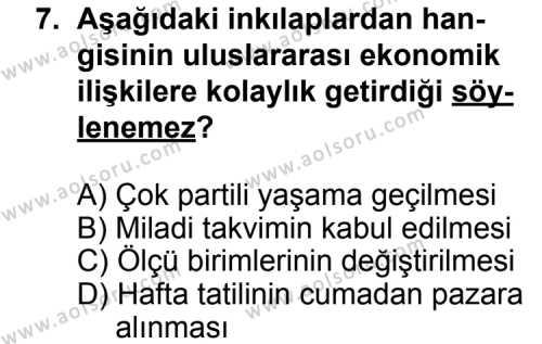 T.C. İnklap Tarihi ve Atatürkçülük 2 Dersi 2015-2016 Yılı 1. Dönem Sınavı 7. Soru