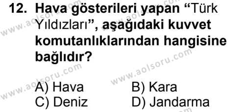 T.C. İnklap Tarihi ve Atatürkçülük 2 Dersi 2015-2016 Yılı 1. Dönem Sınavı 12. Soru