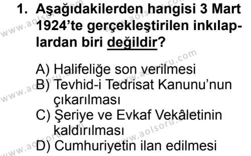 T.C. İnklap Tarihi ve Atatürkçülük 2 Dersi 2015 - 2016 Yılı 3. Dönem Sınav Soruları 1. Soru