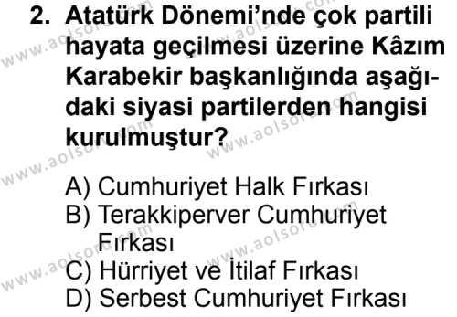 T.C. İnklap Tarihi ve Atatürkçülük 2 Dersi 2015 - 2016 Yılı 3. Dönem Sınav Soruları 2. Soru