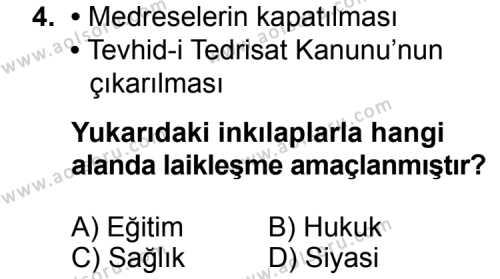 T.C. İnklap Tarihi ve Atatürkçülük 2 Dersi 2015 - 2016 Yılı 3. Dönem Sınav Soruları 4. Soru