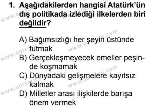 T.C. İnklap Tarihi ve Atatürkçülük 2 Dersi 2016 - 2017 Yılı 3. Dönem Sınav Soruları 1. Soru