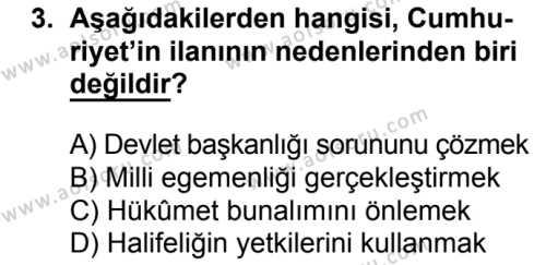 T.C. İnklap Tarihi ve Atatürkçülük 2 Dersi 2016 - 2017 Yılı 3. Dönem Sınav Soruları 3. Soru