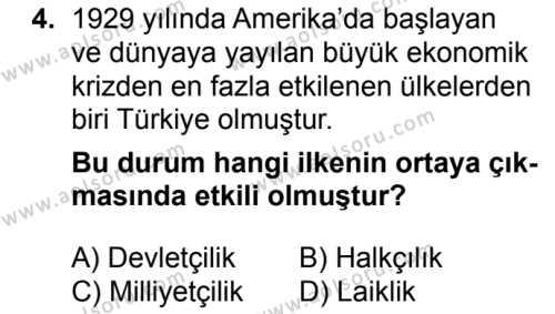 T.C. İnklap Tarihi ve Atatürkçülük 2 Dersi 2016 - 2017 Yılı 3. Dönem Sınav Soruları 4. Soru