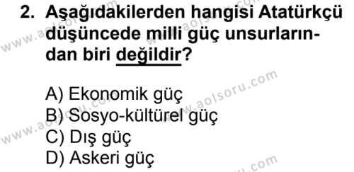 T.C. İnklap Tarihi ve Atatürkçülük 2 Dersi 2017-2018 Yılı 1. Dönem Sınavı 2. Soru