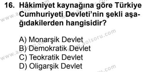 T.C. İnklap Tarihi ve Atatürkçülük 2 Dersi 2017-2018 Yılı 1. Dönem Sınavı 16. Soru