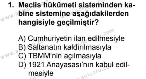 T.C. İnklap Tarihi ve Atatürkçülük 2 Dersi 2017 - 2018 Yılı Ek Sınavı 1. Soru