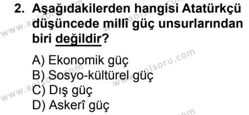 T.C. İnklap Tarihi ve Atatürkçülük 2 Dersi 2017 - 2018 Yılı Ek Sınavı 2. Soru