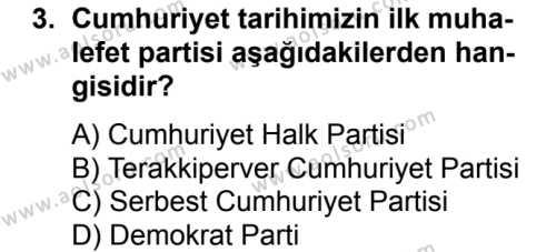 T.C. İnklap Tarihi ve Atatürkçülük 2 Dersi 2017 - 2018 Yılı Ek Sınavı 3. Soru