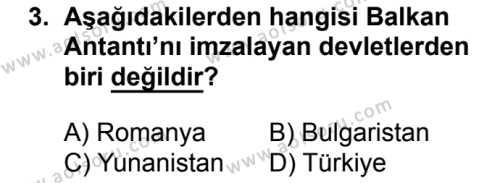 T.C. İnklap Tarihi ve Atatürkçülük 2 Dersi 2018 - 2019 Yılı 1. Dönem Sınav Soruları 3. Soru