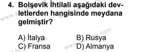 T.C. İnklap Tarihi ve Atatürkçülük 2 Dersi 2018 - 2019 Yılı 1. Dönem Sınav Soruları 4. Soru