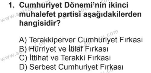 T.C. İnklap Tarihi ve Atatürkçülük 2 Dersi 2018 - 2019 Yılı 2. Dönem Sınavı 1. Soru