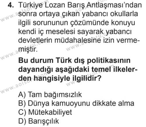 T.C. İnklap Tarihi ve Atatürkçülük 2 Dersi 2018 - 2019 Yılı 2. Dönem Sınavı 4. Soru