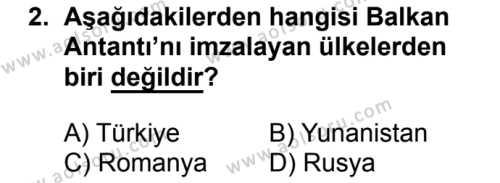 T.C. İnklap Tarihi ve Atatürkçülük 2 Dersi 2018 - 2019 Yılı 3. Dönem Sınav Soruları 2. Soru