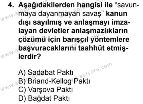 T.C. İnklap Tarihi ve Atatürkçülük 2 Dersi 2018 - 2019 Yılı 3. Dönem Sınav Soruları 4. Soru