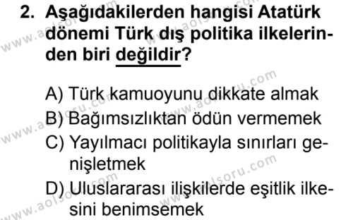 T.C. İnklap Tarihi ve Atatürkçülük 2 Dersi 2019 - 2020 Yılı 1. Dönem Sınav Soruları 2. Soru