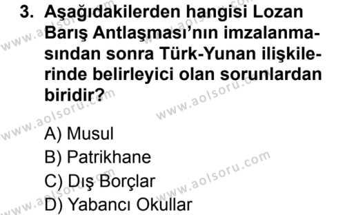 T.C. İnklap Tarihi ve Atatürkçülük 2 Dersi 2019 - 2020 Yılı 1. Dönem Sınav Soruları 3. Soru
