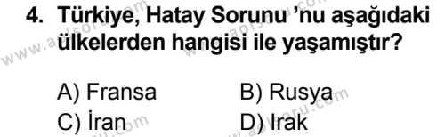 T.C. İnklap Tarihi ve Atatürkçülük 2 Dersi 2019 - 2020 Yılı 1. Dönem Sınav Soruları 4. Soru