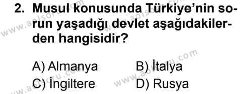 T.C. İnklap Tarihi ve Atatürkçülük 2 Dersi 2019 - 2020 Yılı 2. Dönem Sınav Soruları 2. Soru