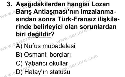 T.C. İnklap Tarihi ve Atatürkçülük 2 Dersi 2019 - 2020 Yılı 2. Dönem Sınav Soruları 3. Soru