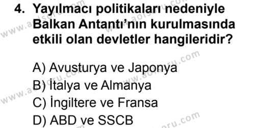 T.C. İnklap Tarihi ve Atatürkçülük 2 Dersi 2019 - 2020 Yılı 2. Dönem Sınav Soruları 4. Soru
