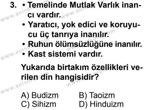 Temel Dini Bilgiler 1 Dersi 2013 - 2014 Yılı 1. Dönem Sınav Soruları 3. Soru