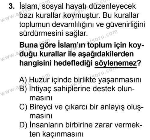 Temel Dini Bilgiler 1 Dersi 2018 - 2019 Yılı 3. Dönem Sınavı 3. Soru