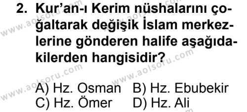 Temel Dini Bilgiler 2 Dersi 2011 - 2012 Yılı Ek Sınavı 2. Soru