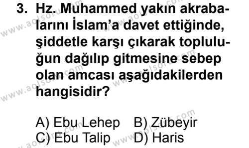 Temel Dini Bilgiler 2 Dersi 2011 - 2012 Yılı Ek Sınavı 3. Soru