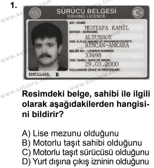 Trafik ve İlk Yardım 2 Dersi 2011 - 2012 Yılı Ek Sınavı 1. Soru