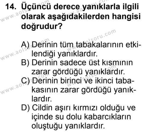 Trafik ve İlk Yardım 2 Dersi 2013-2014 Yılı 1. Dönem Sınavı 14. Soru