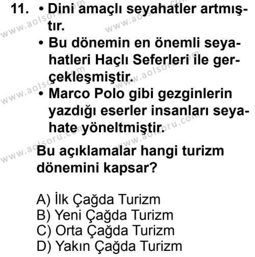 Turizm 1 Dersi 2011-2012 Yılı 1. Dönem Sınavı 11. Soru