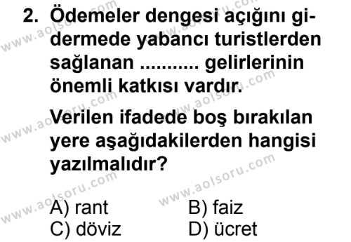 Turizm 1 Dersi 2012 - 2013 Yılı 1. Dönem Sınav Soruları 2. Soru
