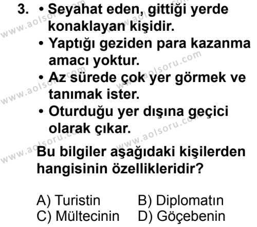 Turizm 1 Dersi 2012 - 2013 Yılı 1. Dönem Sınav Soruları 3. Soru