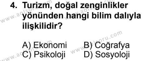 Turizm 1 Dersi 2012 - 2013 Yılı 1. Dönem Sınav Soruları 4. Soru