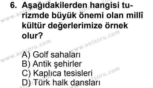 Turizm 1 Dersi 2012-2013 Yılı 1. Dönem Sınavı 6. Soru