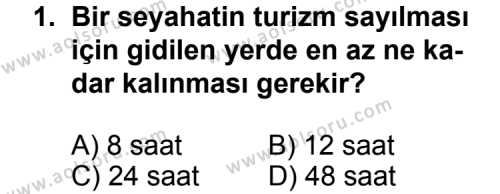 Turizm 1 Dersi 2013 - 2014 Yılı 1. Dönem Sınav Soruları 1. Soru