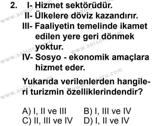 Turizm 1 Dersi 2013 - 2014 Yılı 1. Dönem Sınav Soruları 2. Soru