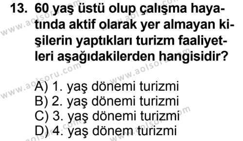 Turizm 1 Dersi 2013-2014 Yılı 1. Dönem Sınavı 13. Soru