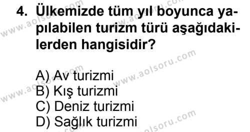 Turizm 2 Dersi 2011 - 2012 Yılı 1. Dönem Sınav Soruları 4. Soru