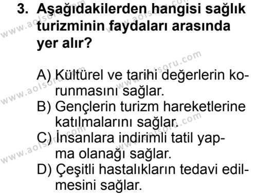 Turizm 2 Dersi 2012 - 2013 Yılı 1. Dönem Sınav Soruları 3. Soru