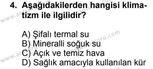 Turizm 2 Dersi 2012 - 2013 Yılı 1. Dönem Sınav Soruları 4. Soru