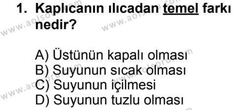 Turizm 2 Dersi 2013 - 2014 Yılı 1. Dönem Sınavı 1. Soru
