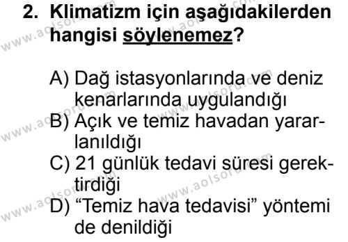 Turizm 2 Dersi 2013 - 2014 Yılı 1. Dönem Sınavı 2. Soru