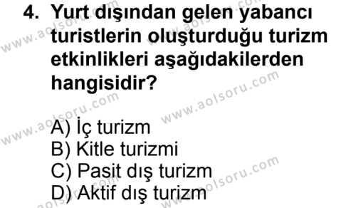 Turizm 2 Dersi 2013 - 2014 Yılı 1. Dönem Sınavı 4. Soru